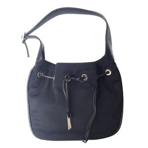 Gucci vintage nylon leather drawstring hobo bag